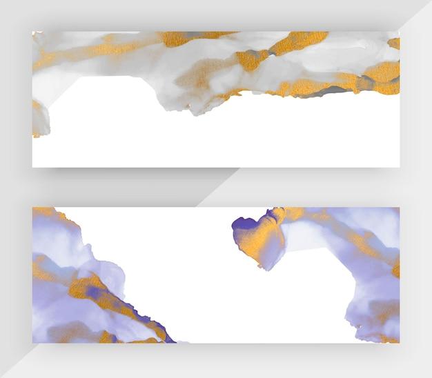 Серые и фиолетовые спиртовые чернила с горизонтальными баннерами с золотым блеском для социальных сетей