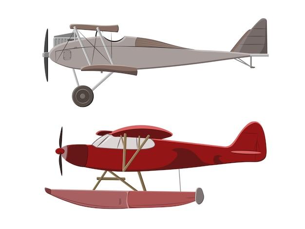 Серый и красный самолет на белом