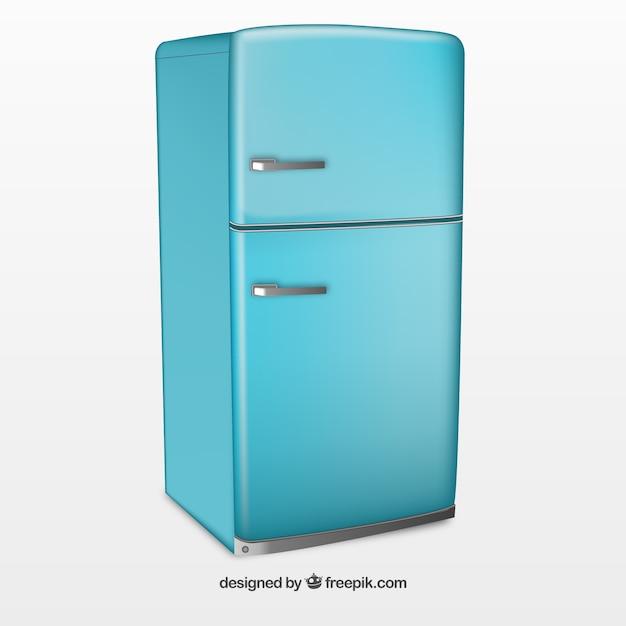 グレーと赤の冷蔵庫