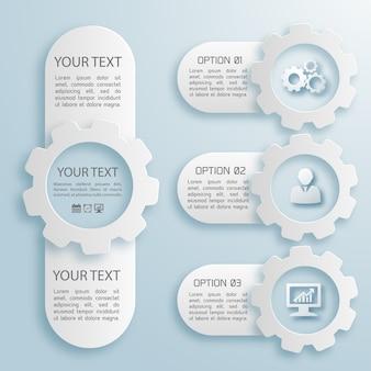 分離されたテキストフィールドと異なるサイズの4つの抽象的なビジネスインフォグラフィックの灰色と白の色のフラットセット