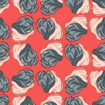 Серые и белые декоративные цветы магнолии бесшовные модели. розовый фон. ручной обращается принт. плоская векторная печать для текстиля, ткани, подарочной упаковки, обоев. бесконечная иллюстрация.