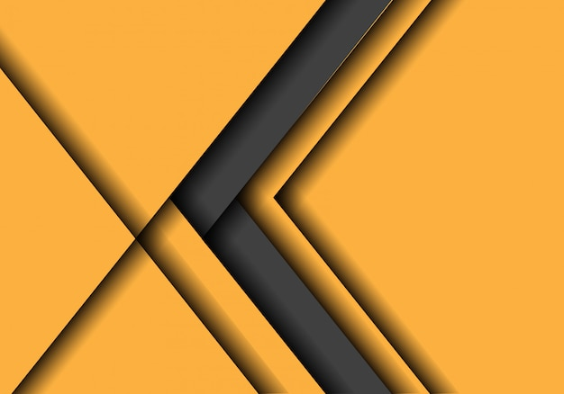 Grey arrow direction on yellow with blank space background.