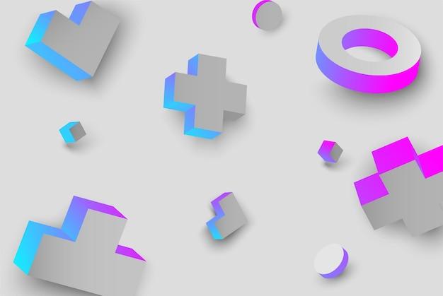 파란색과 분홍색 3d 기하학적 인물 패턴 벡터 일러스트와 함께 회색 배경