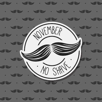 Grey background with moustaches for movember