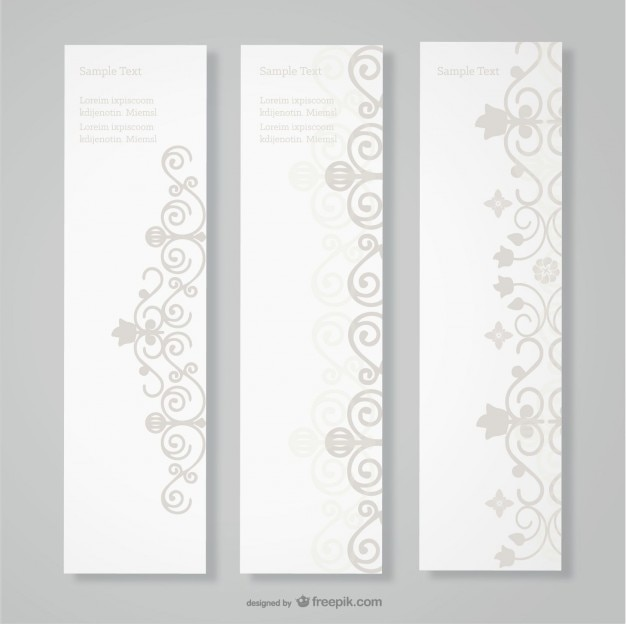 Grey banners with vintage ornaments Free Vector