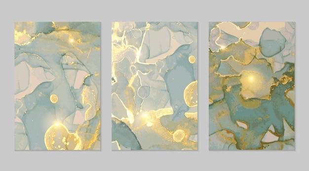 グレーブルーとゴールドの大理石の抽象的なテクスチャ