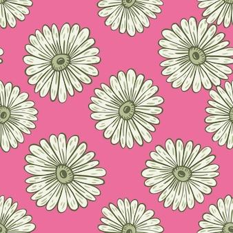 灰色の植物のヒマワリの要素のシームレスなパターン。輪郭の花がプリントされています。ピンクの明るい背景。季節のテキスタイルプリント、ファブリック、バナー、背景、壁紙のベクトルイラスト。
