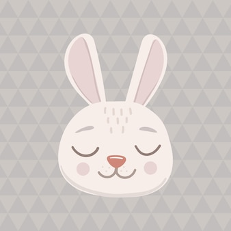 Grey bunny head face oval icon with closed eyes. cute cartoon funny character. pet baby print collection. happy valentines day. scandinavian style isolated on a triangular background. vector