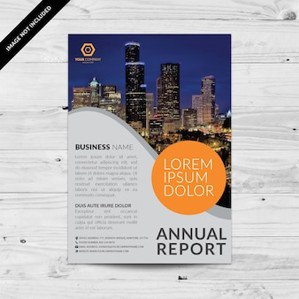 Grey business brochure with orange details