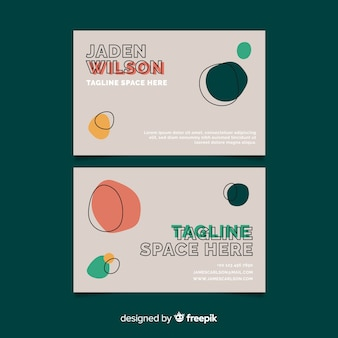 Grey business card with round shapes
