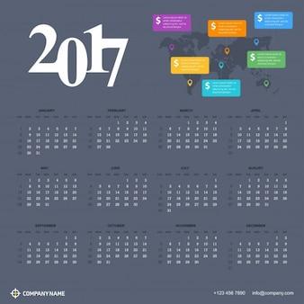 世界地図の背景に2017年用カレンダー