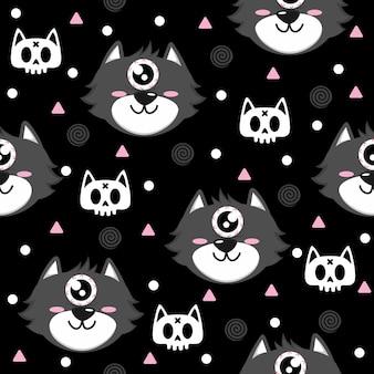 해골 고양이 패턴 일러스트와 함께 회색 고양이