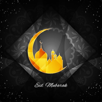 Grey color eid mubarak abstract background with floral details