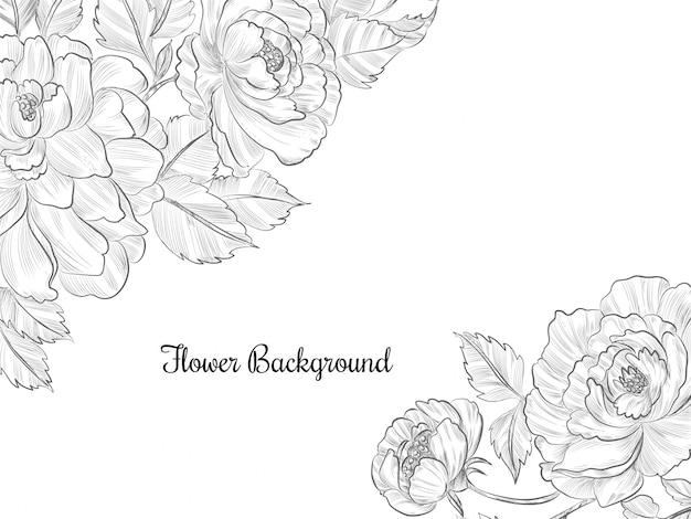 灰色の手描きの花