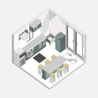 Изометрический дизайн интерьера интерьера