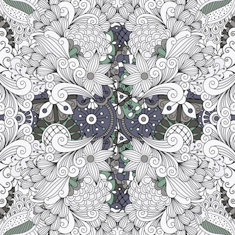 Grey color outline decorative floral pattern