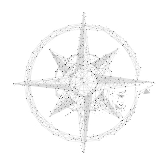 Grey compass rose with polygon line on abstract background polygonal space low poly with connecting