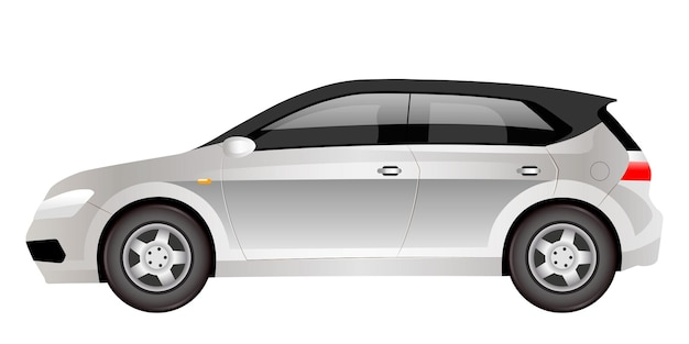 Grey electric hatchback cartoon . futuristic family car flat color object. eco friendly cuv car side view. modern environmentally safe automobile isolated on white background