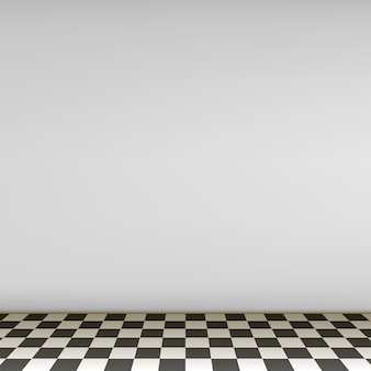Grey empty scene with checkerboard floor.