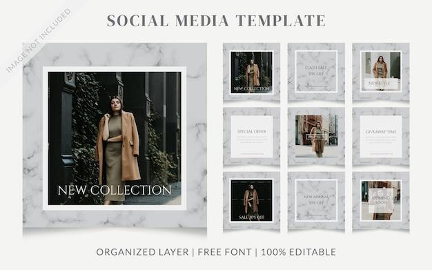 Grey feminine beauty social media instagram post fashion promotion advertisement template