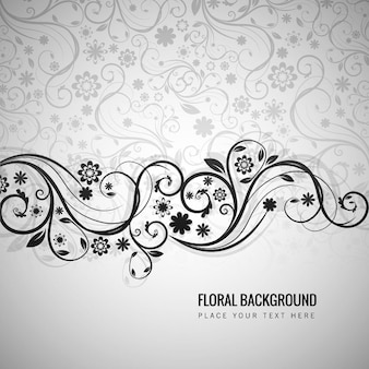 Grey floral background in ornamental style