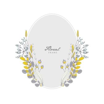 Grey floral frame