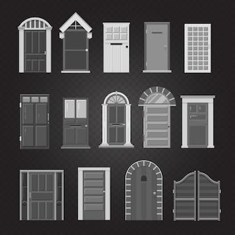 Grey front house doors set