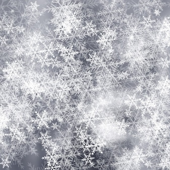 Grey frost background with snowflakes