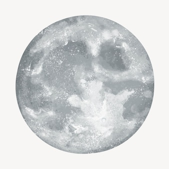 白い背景の上の灰色の満月のイラスト