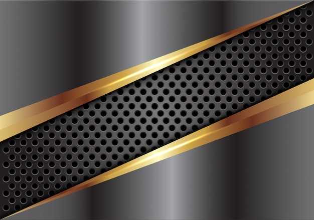 Grey gold metal cover on dark circle mesh background.