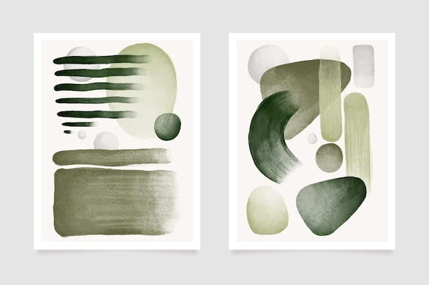 Grey and green abstract watercolor cover template