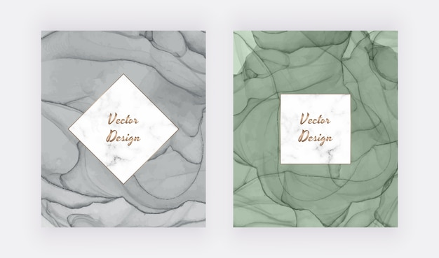 Grey and green alcohol ink cards with geometric marble frame. modern abstract watercolor design.