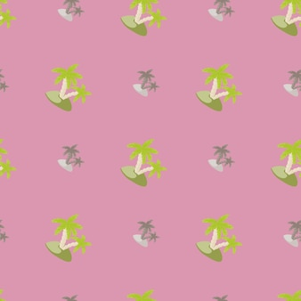 Grey and green colored island and palm print seamless pattern. lilac background. doodle abstract shapes. designed for fabric design, textile print, wrapping, cover. vector illustration.