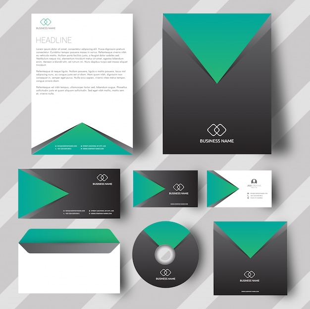 Grey and green corporate stationery set