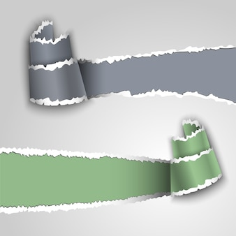 Grey and green ripped paper