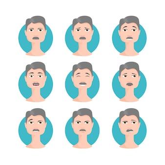 白髪の男セットイラスト、さまざまな感情、表現を持つ漫画スタイルの顔の口ひげの肖像画を持つ男性。簡単に変更できます。文字コレクションベクトル。