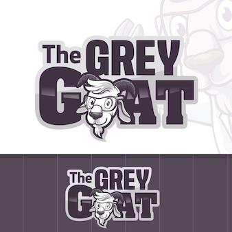 The grey head goat lamb sheep logo
