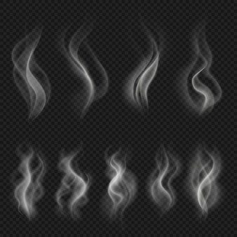 Grey hot smoke clouds. white transparent steam evaporation isolated vector effects. vector motion steam fog, flow smoke effect illustration