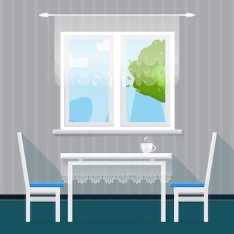 Интерьер серой столовой. обеденный стол с чашкой и стульями. мебель. кухня. предметы интерьера дома. иллюстрация стиля