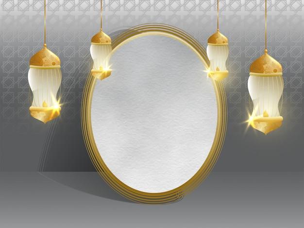 Grey islamic background decorated with hanging illumination