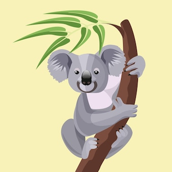 Grey koala bear isolated on wood branch with green leaves. australian marsupial animal that eat only eucalyptus sitting on tropical tree trunk.  illustration of herbivorous koala