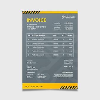Grey mechanic invoice template
