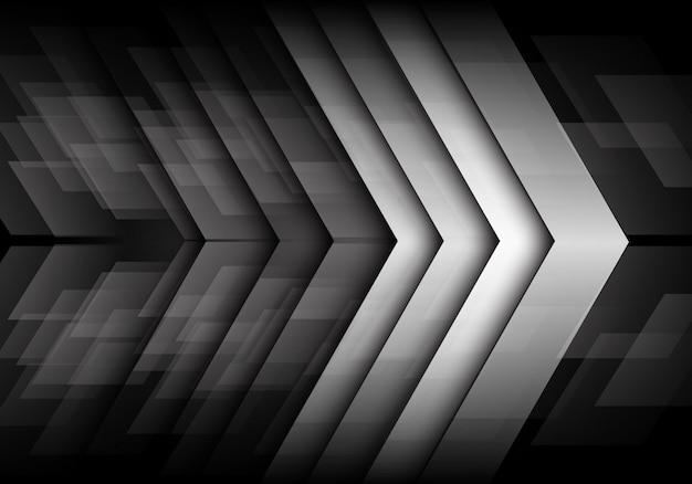 Grey metallic arrow direction dark speed background.