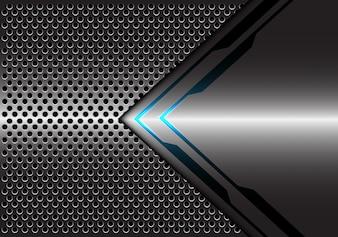 灰色のメタリックブルーライト矢印方向サークルメッシュバックグラウンド。