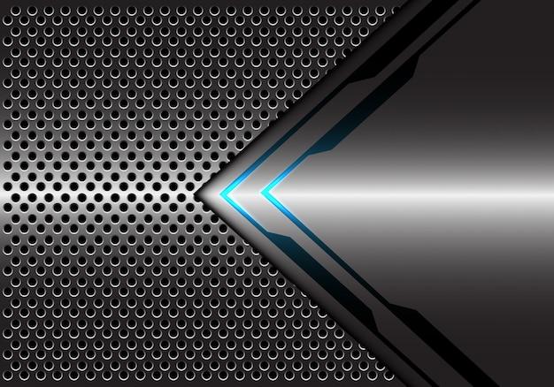 Grey metallic blue light arrow direction circle mesh background.
