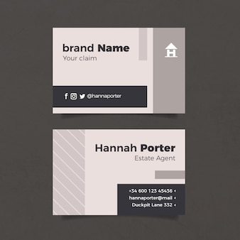 Grey minimal business card template
