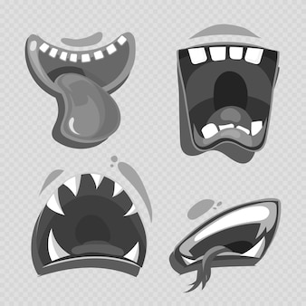 Grey monster mouths vector isolated on transparent
