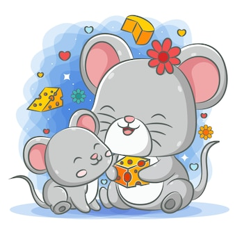 Grey mother mouse giving the cheese to her baby mouse
