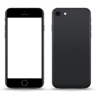 Grey phone with blank screen isolated.