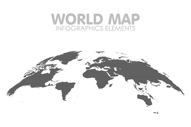 Grey political world map isolated illustration